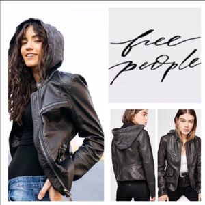 Monroe Hooded Faux Leather Moto Jacket brand new